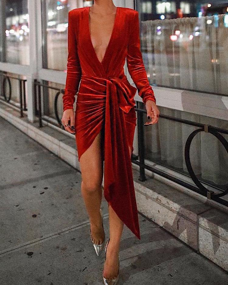 ivrose / Bodysuit Irregular Ruched Velvet Plunge Com Saia