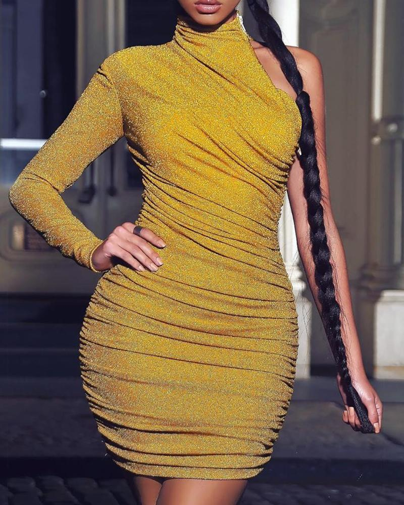 chicme / Glitter Ruched Design One Shoulder Bodycon Dress