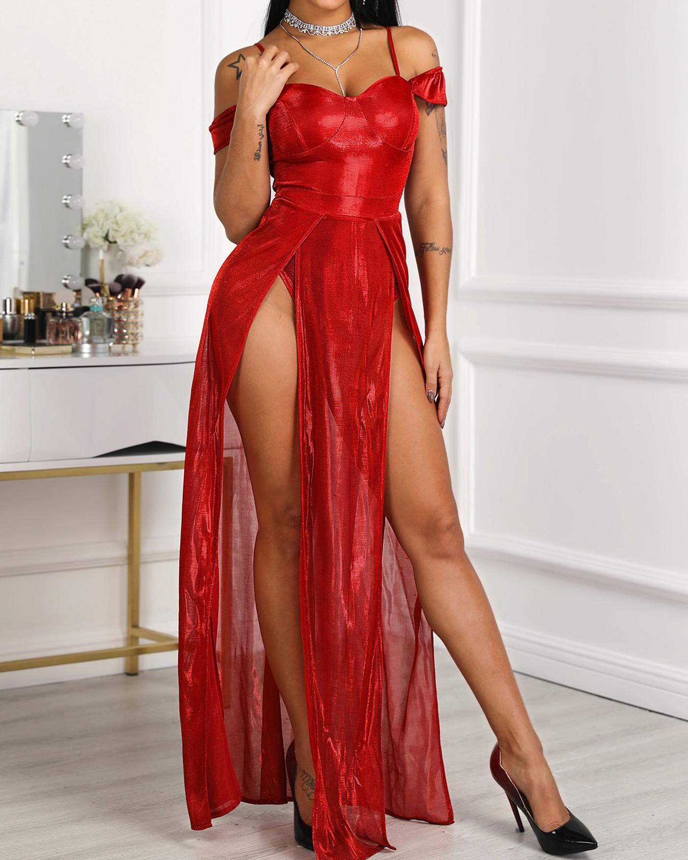 ivrose / Correas espaguetis muslo raja vestido de noche
