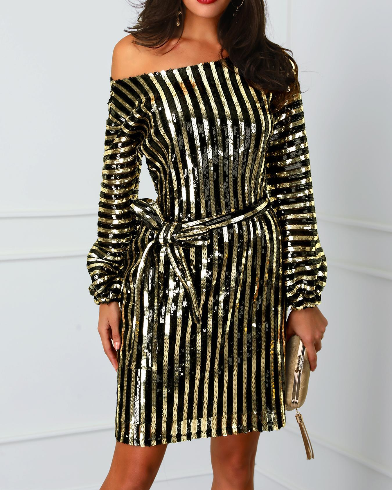 Stripes Long Sleeve Belted Sequin Party Dress фото