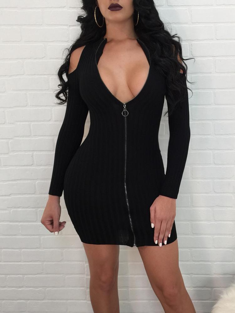Cold Shoulder Zipper Up Ribbed Mini Dress