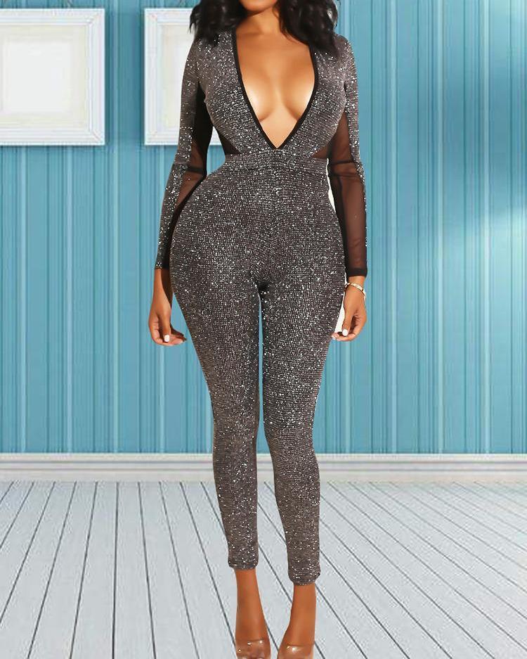 ivrose / Shiny Sequins Plunge Mesh Splicing Jumpsuits