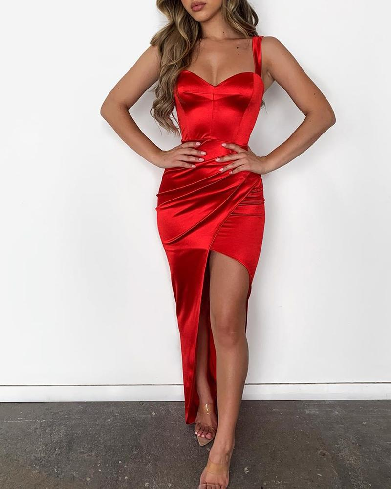 Solid Thin Strap Sweetheart Neck Ruched Slit Dress фото
