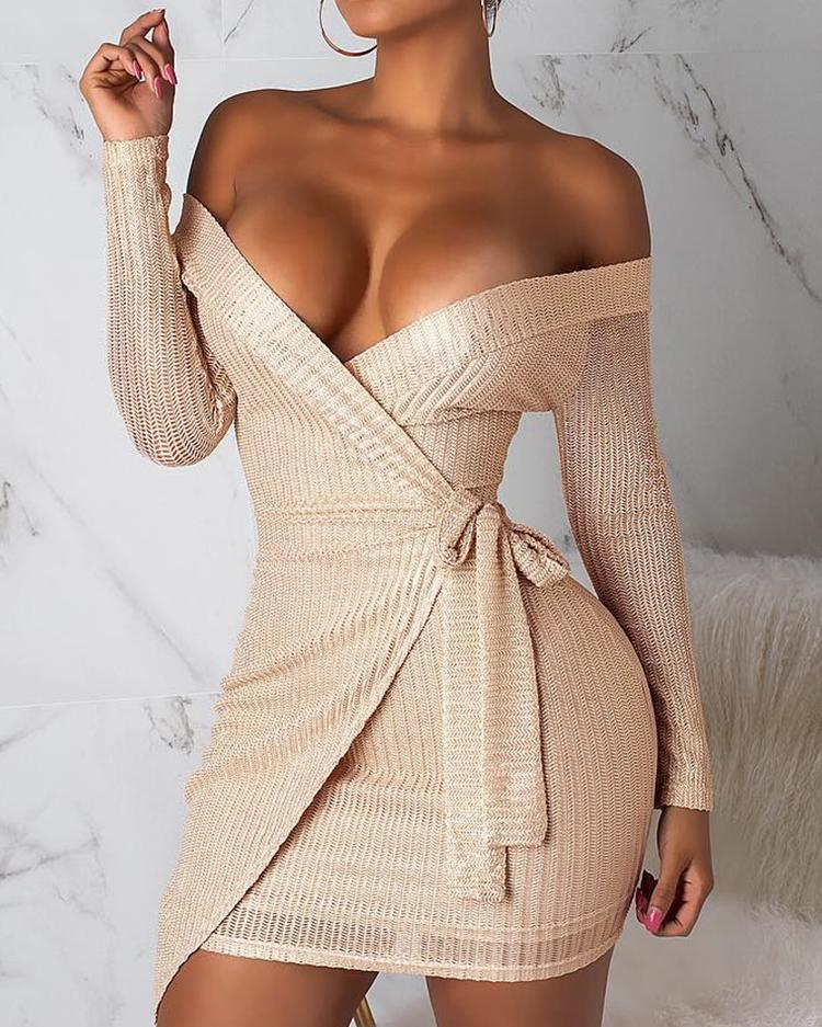 ivrose / Off Shoulder Surplice Wrap Bodycon Dress