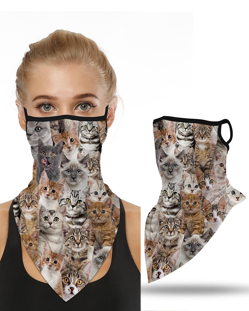 Cats Print Breathable Ear Loop Face Cover Windproof Motorcycling Dust Outdoors фото