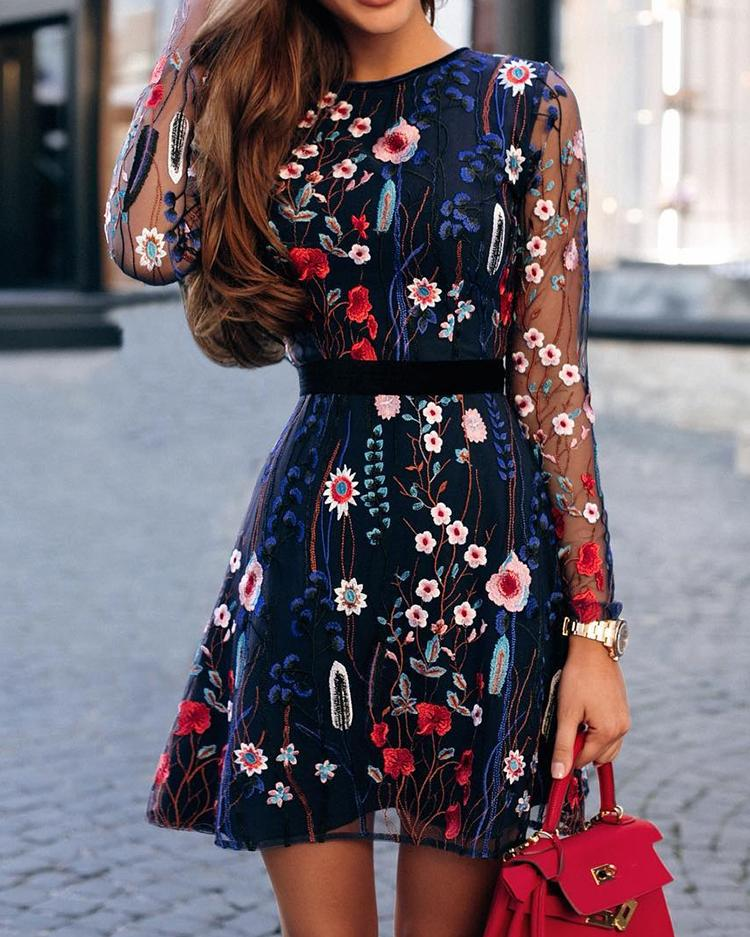 Floral Embroidery Mesh Sleeve Mini Dress фото