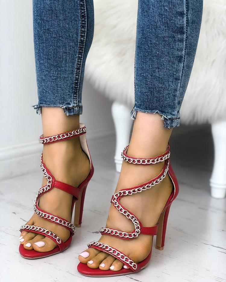 Solid Chains Embellished Zipper Thin Heeled Sandals