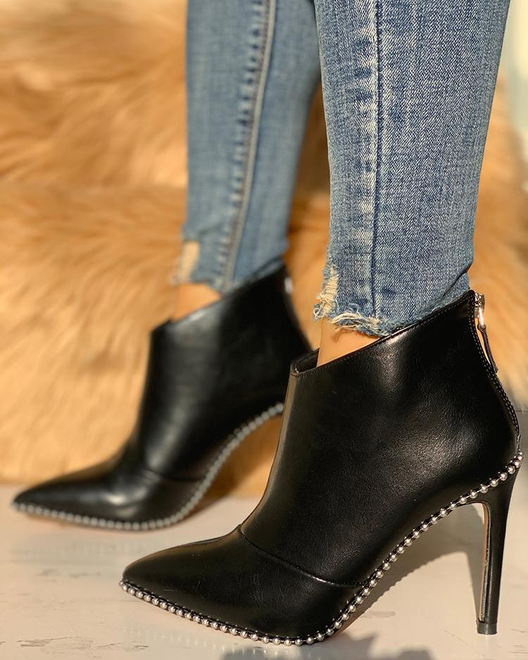 Stud Detail Point Toe Thin Heeled Boots