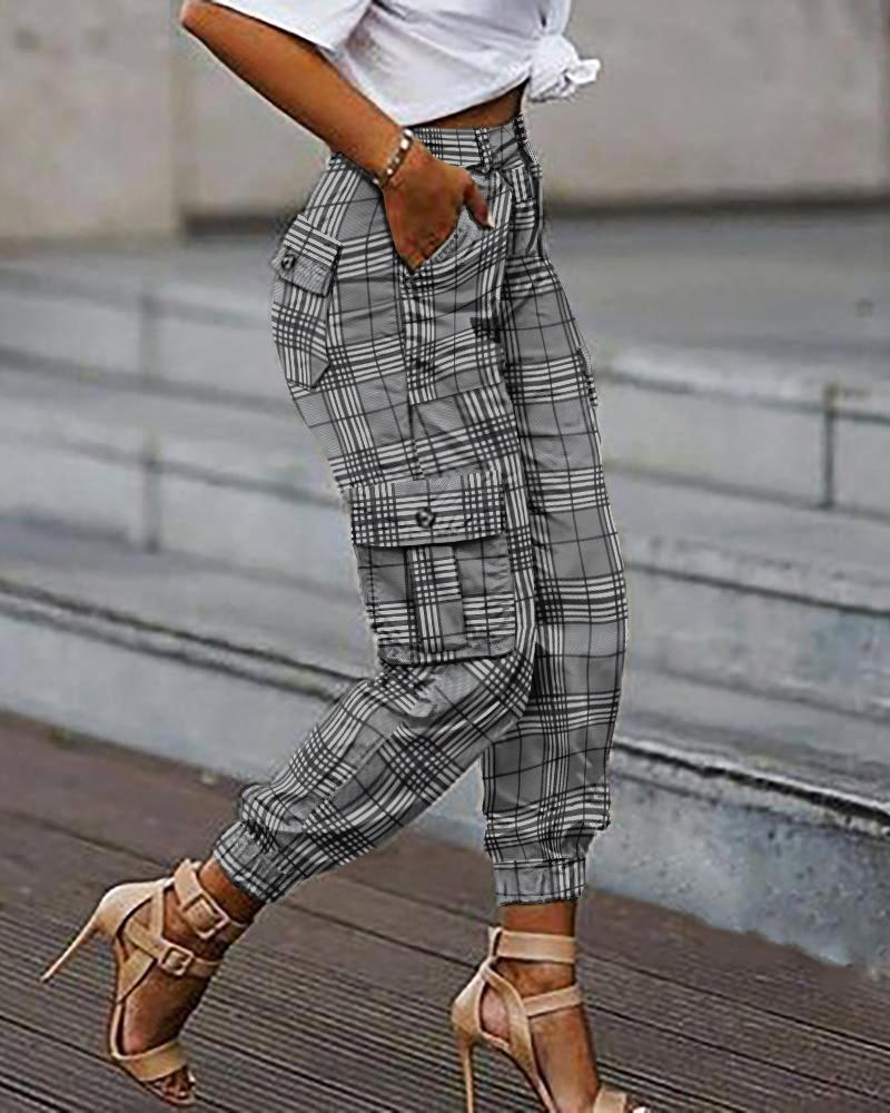 ivrose / Pantalones cargo casuales con diseño de bolsillos con estampado a cuadros