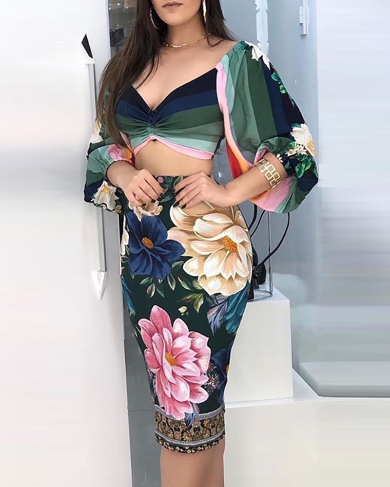 Striped Lantern Sleeve Crop Top & Floral Print Skirt Sets фото