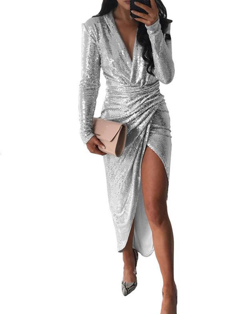 Deep V Sequined Asymmetrical Dress фото