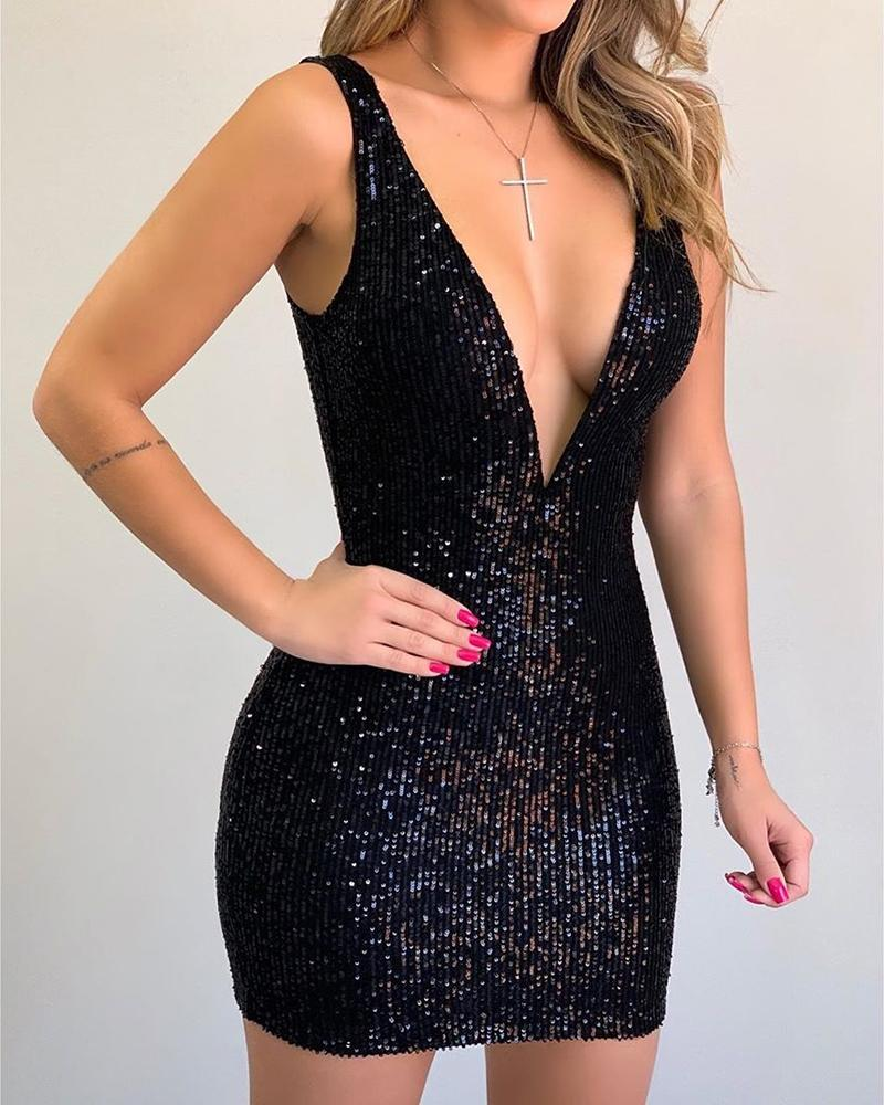 ivrose / Sequins Thick Strap Cold Shoulder Bodycon Dress