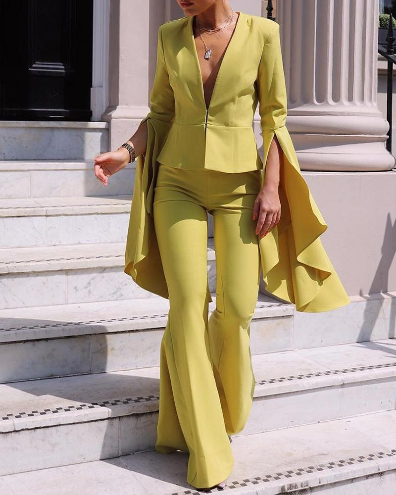 Solid Plunge Ruffles Blazer & Bell-bottomed Pants Sets, Yellow