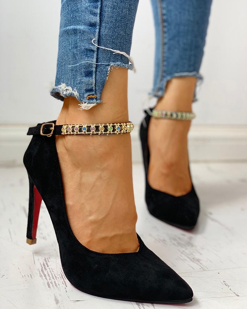 Pointed Toe Ankle Buckled Studded Thin Heels