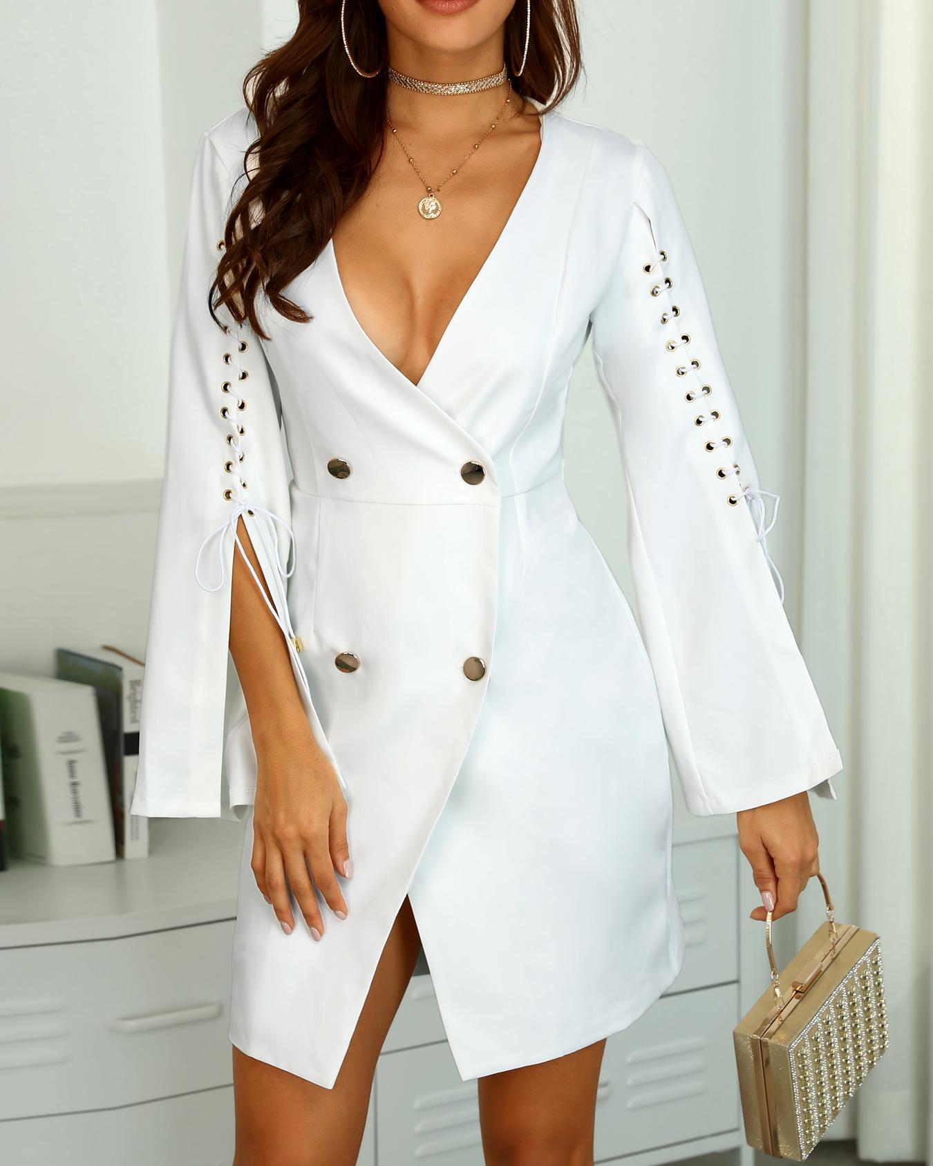Solid Lace-Up Slit Sleeve Blazer Dress
