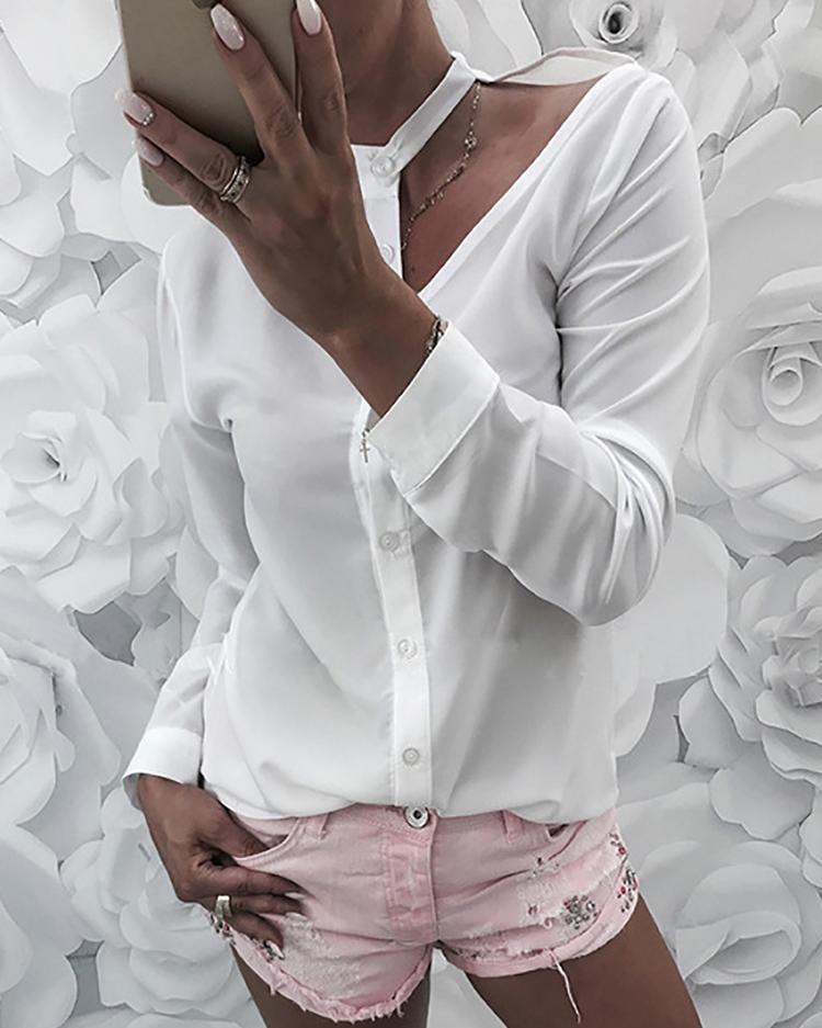 Solid Button Up Cutout Shoulder Shirt фото