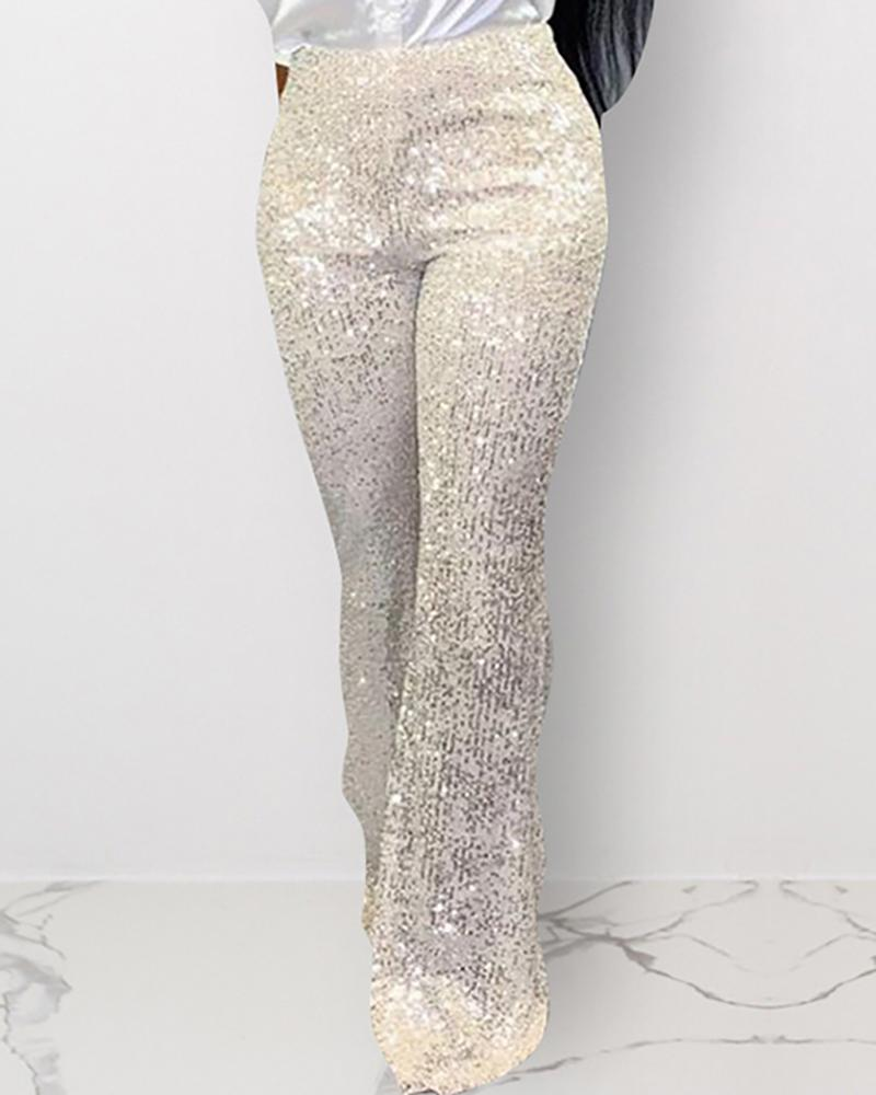 Sequins High Waist Wide pants фото