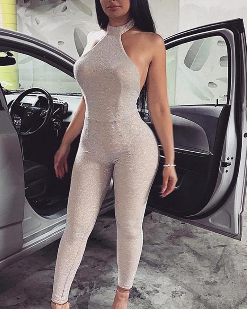 Sexy Halter Neck Sequin Dress фото