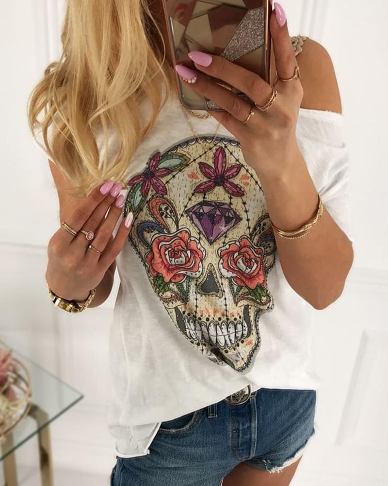 Skull Print Short Sleeve Casual T-shirt, White