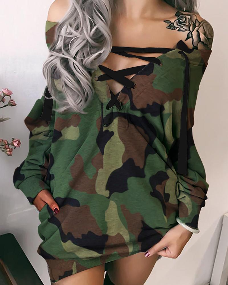 chicme / Fora do ombro vestido casual de camuflagem com cordões
