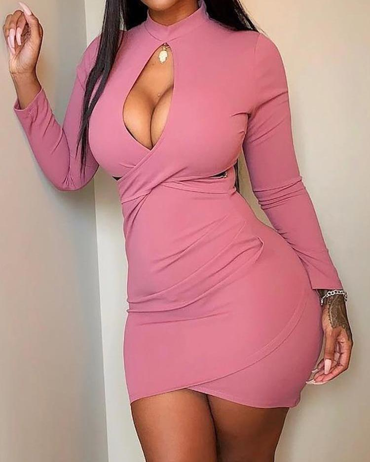Cutout Crisscross Front Ruched Bodycon Dress