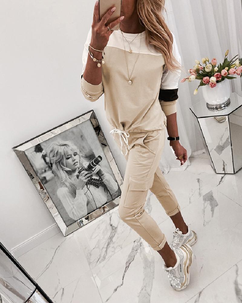 boutiquefeel / Round Neck Colorblock Top & Drawstring Pocket Pants Sets