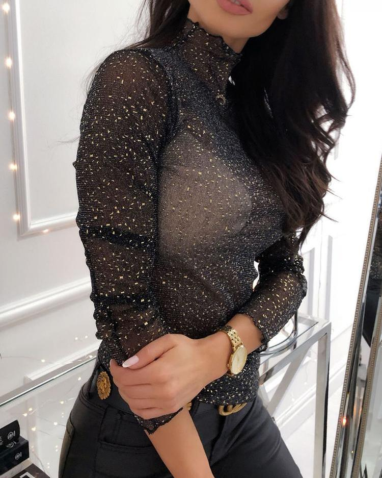 Glitter Mesh See Through Top