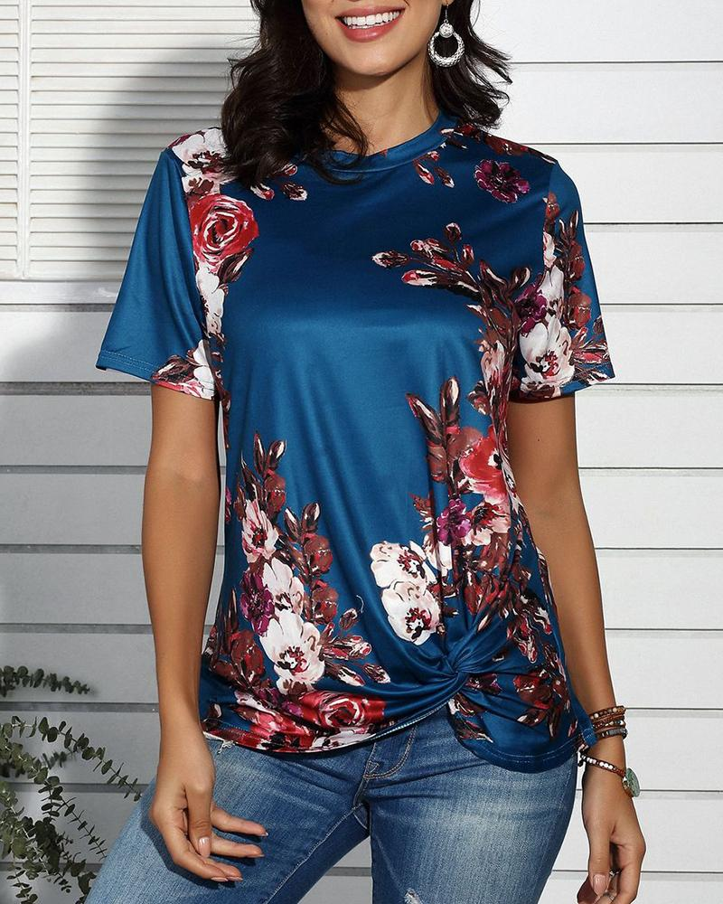 Floral Print Twisted Short Sleeve Casual T-shirt фото