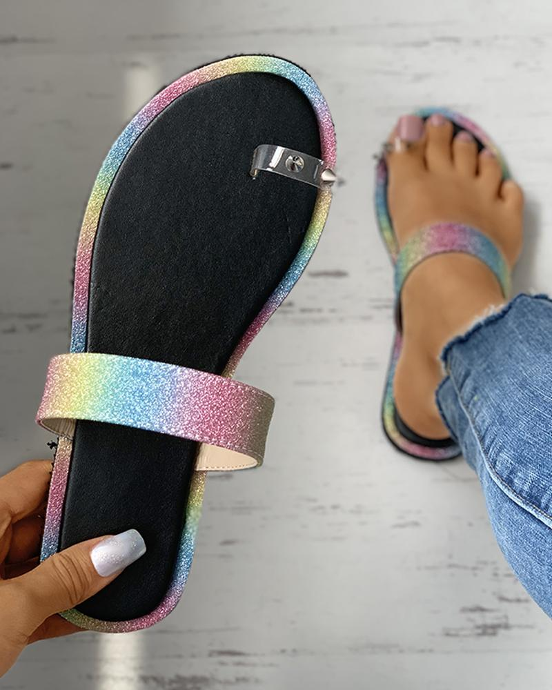 Toe Ring Rivet Rhinestone Colorblock Flat Sandals фото