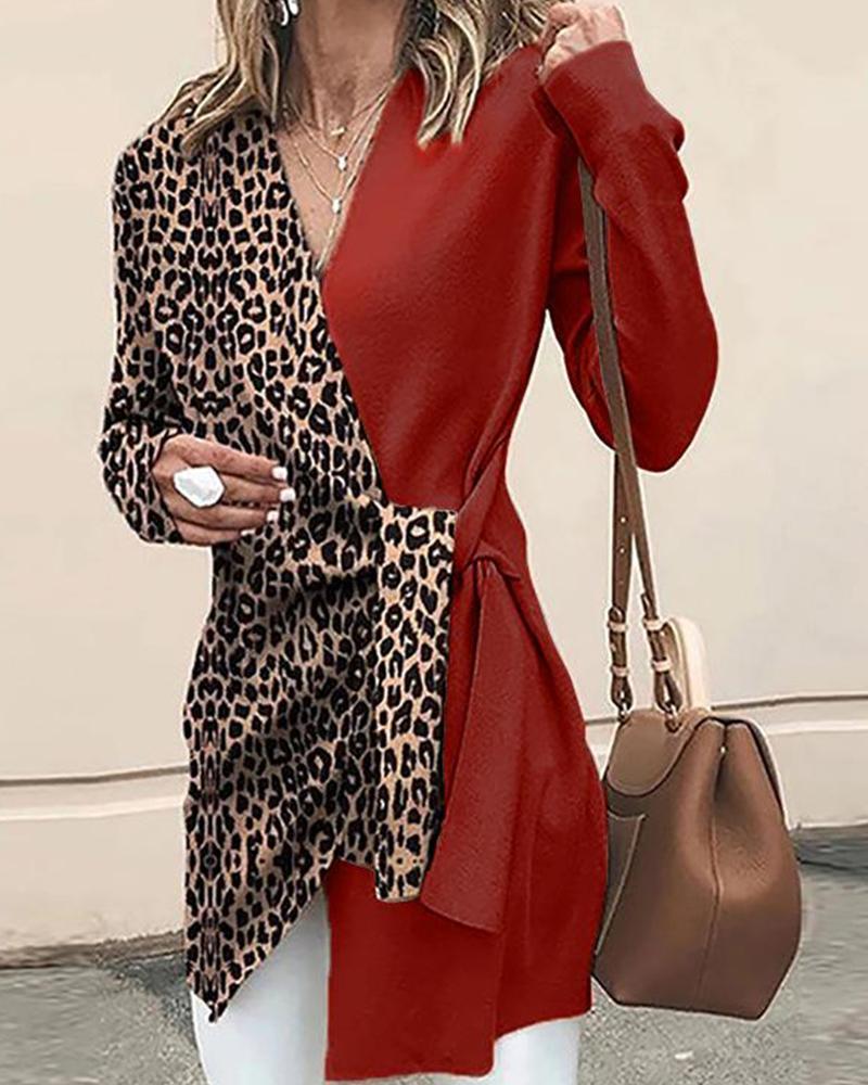boutiquefeel / Túnica de leopardo con cuello en V en contraste
