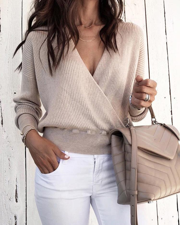 Solid V-Neck Long Sleeve Wrap Sweater фото