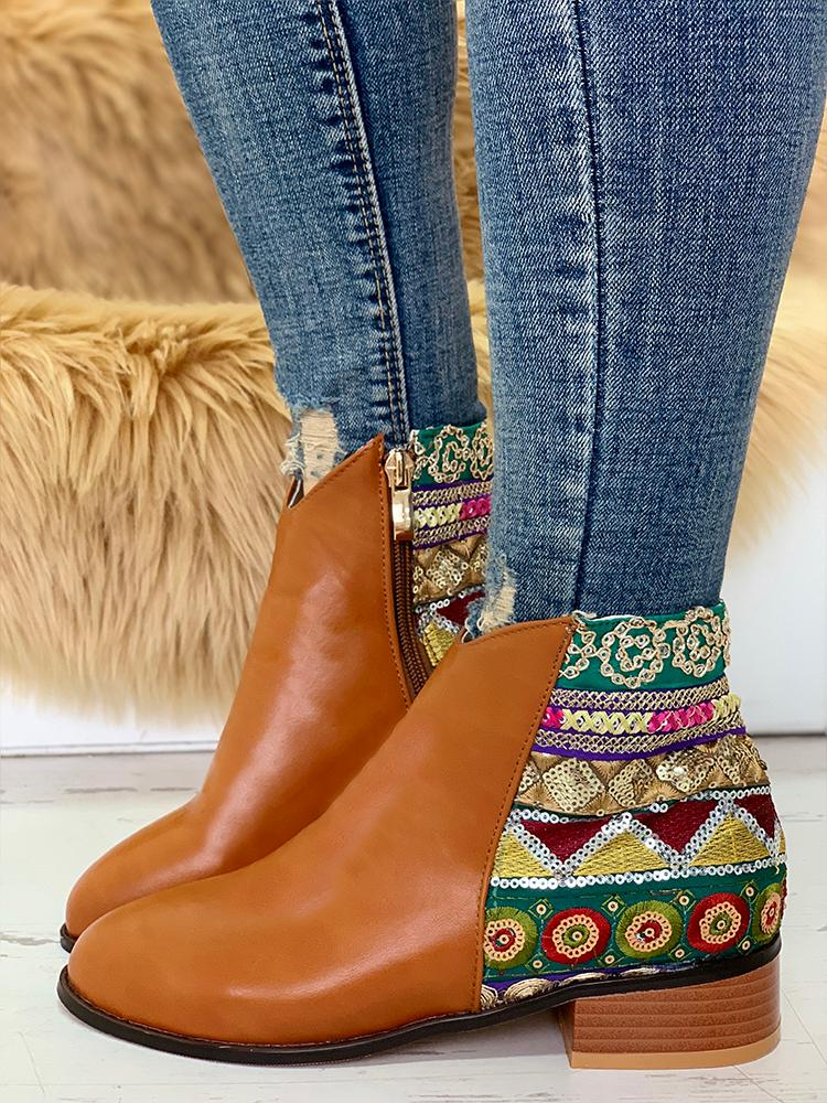 Ethnic Embroidery Patch PU Boots