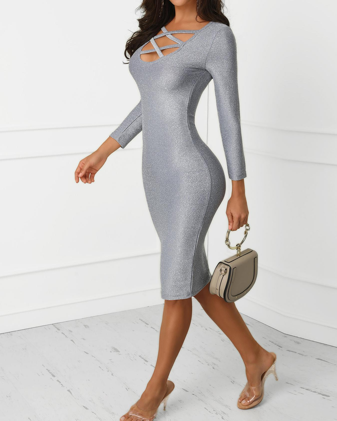 Glittering Caged Neck Party Dress фото