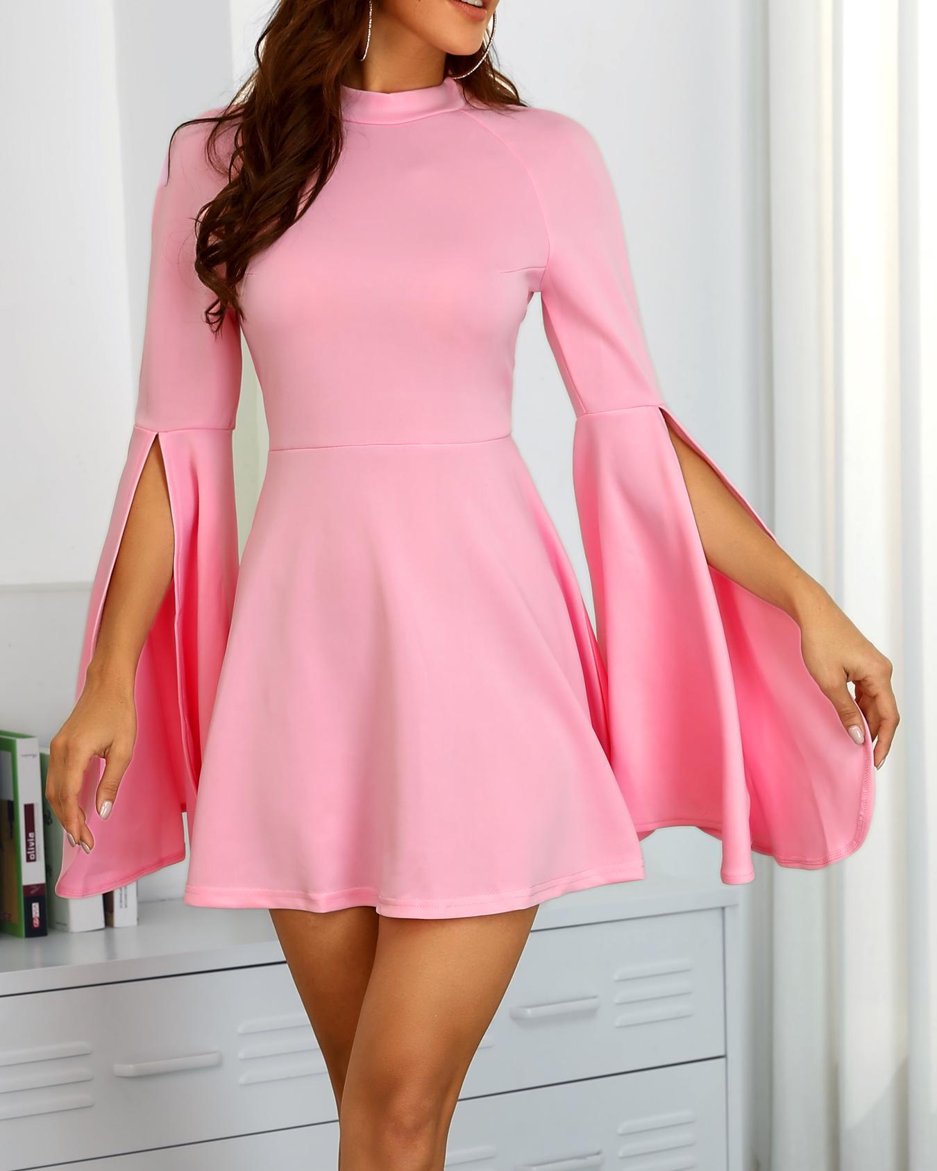 Slit Bell Sleeve Pleated Mini Dress, Pink