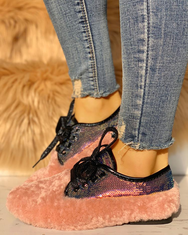 chicme / Lace-Up Sequins Fluffy Flat Shoes