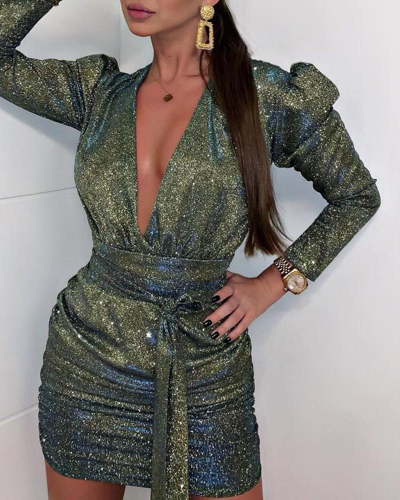 Glitter Plunge Puff Sleeve Ruched Bodycon Dress фото