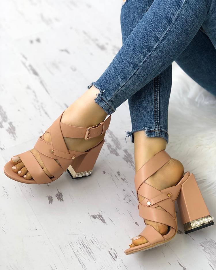 Shiny Embellished Bandage Chunky Heeled Sandals