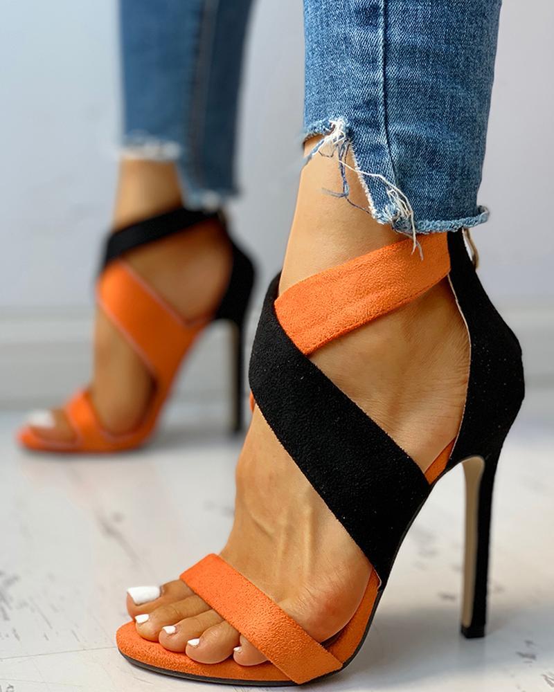 Colorblock Crisscross Thin Heeled Sandals chicme