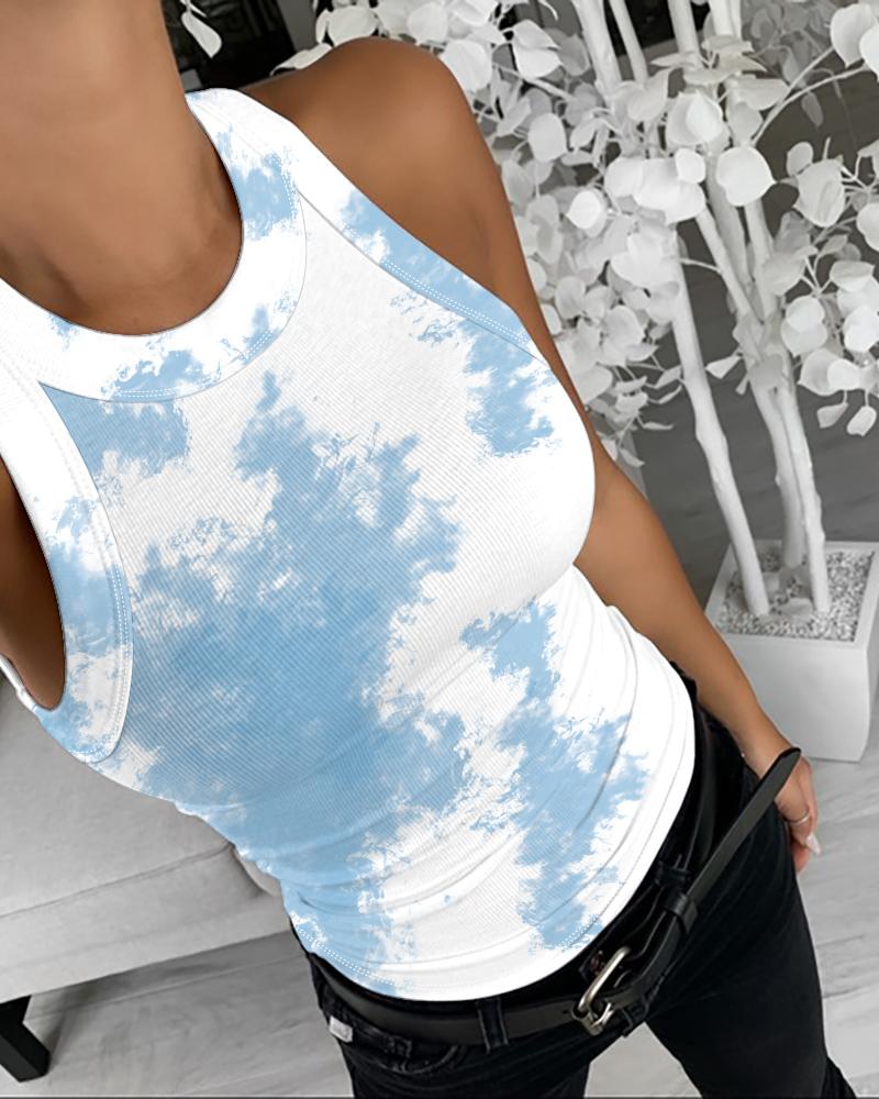 ivrose / Tie Dye Print Top em torno do pescoço