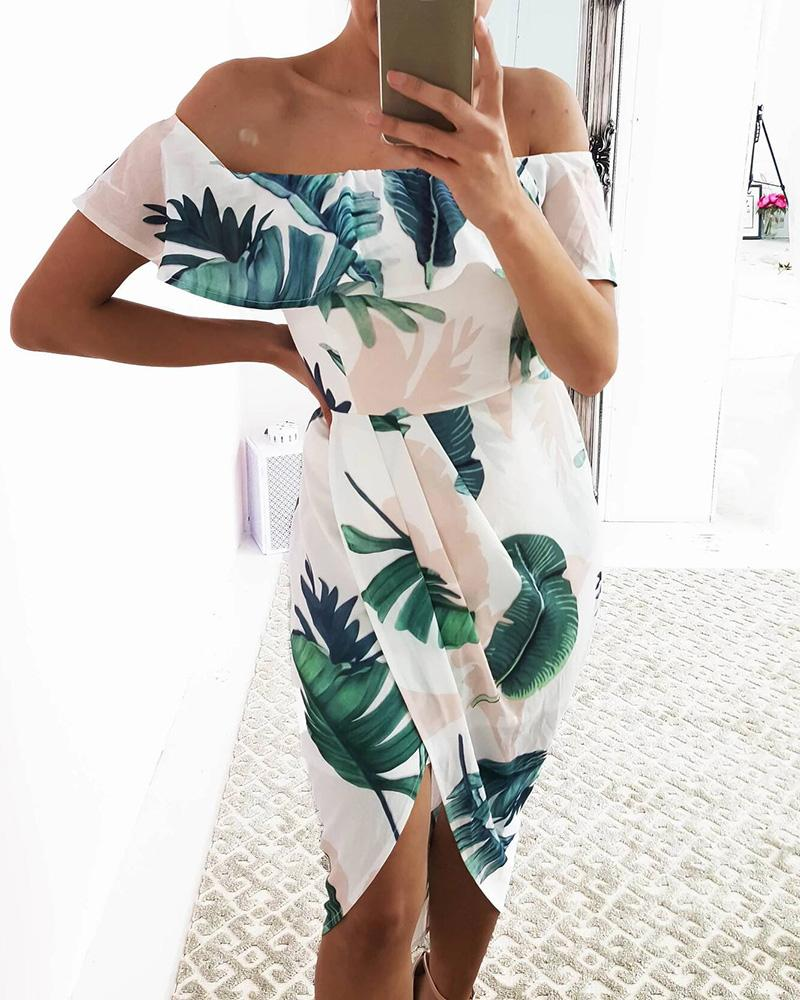 Leaf Print Off Shoulder Ruffles Dress