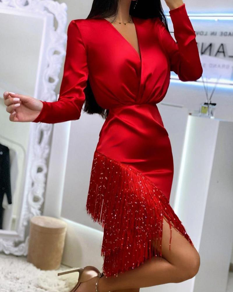 chicme / Plain Wrap Tassel Design Long Sleeve Dress