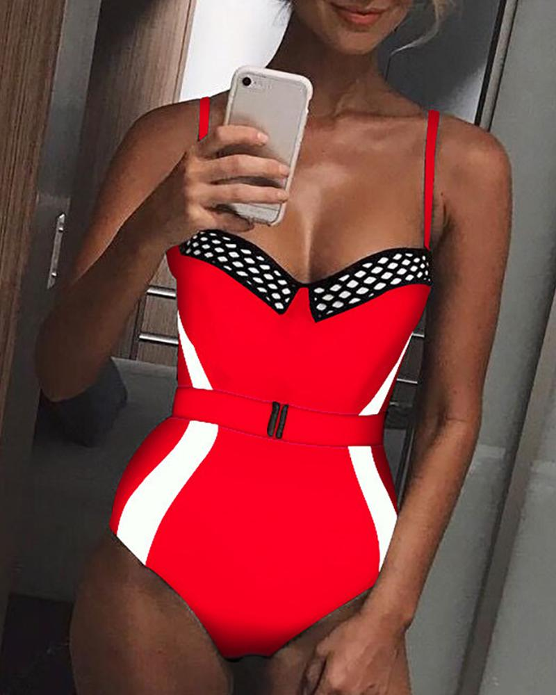 Contrast Color Fishnet Belted One-piece Swimsuit фото