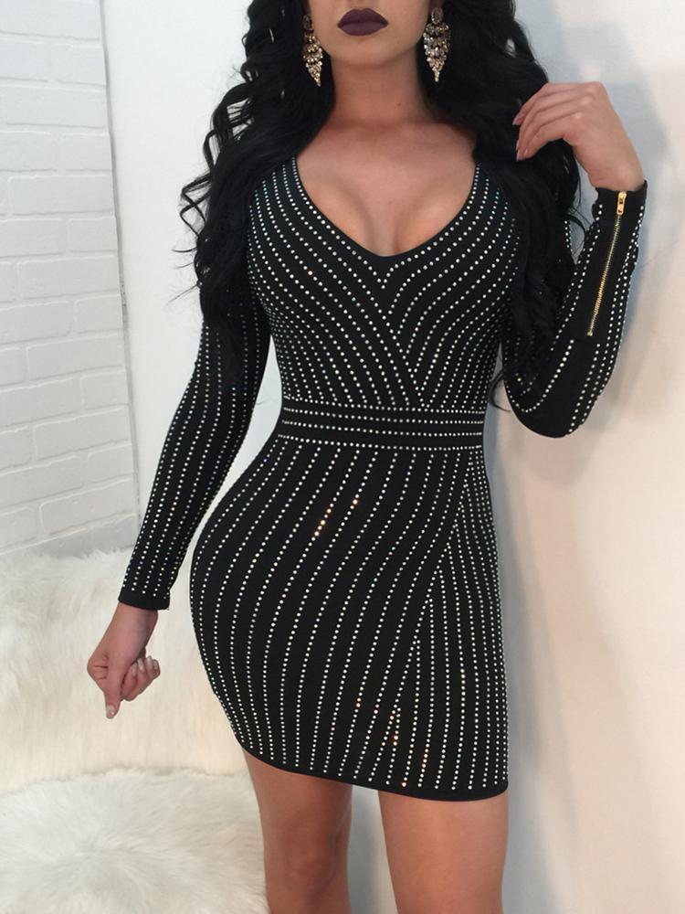 ivrose / V Neck Mini vestido Bodycon