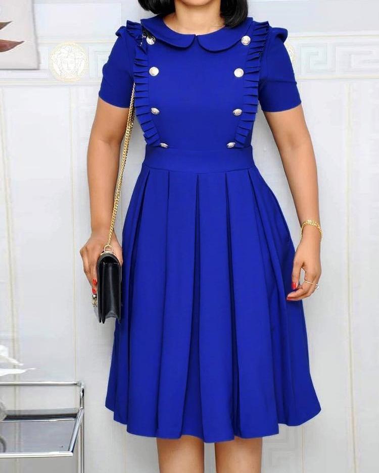 ivrose / Vestido plisado con diseño fruncido y botones