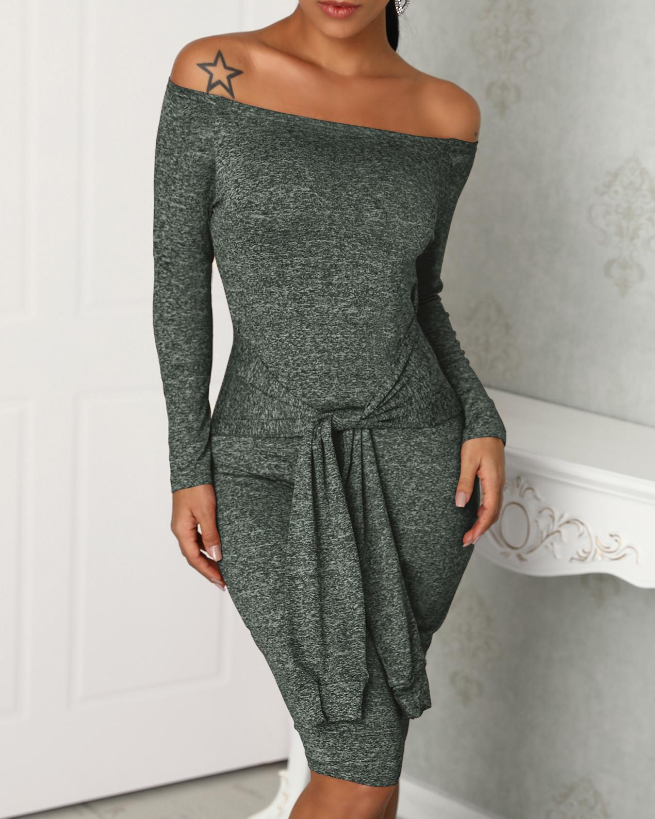 Off Shoulder Long Sleeve Bodycon Dress фото