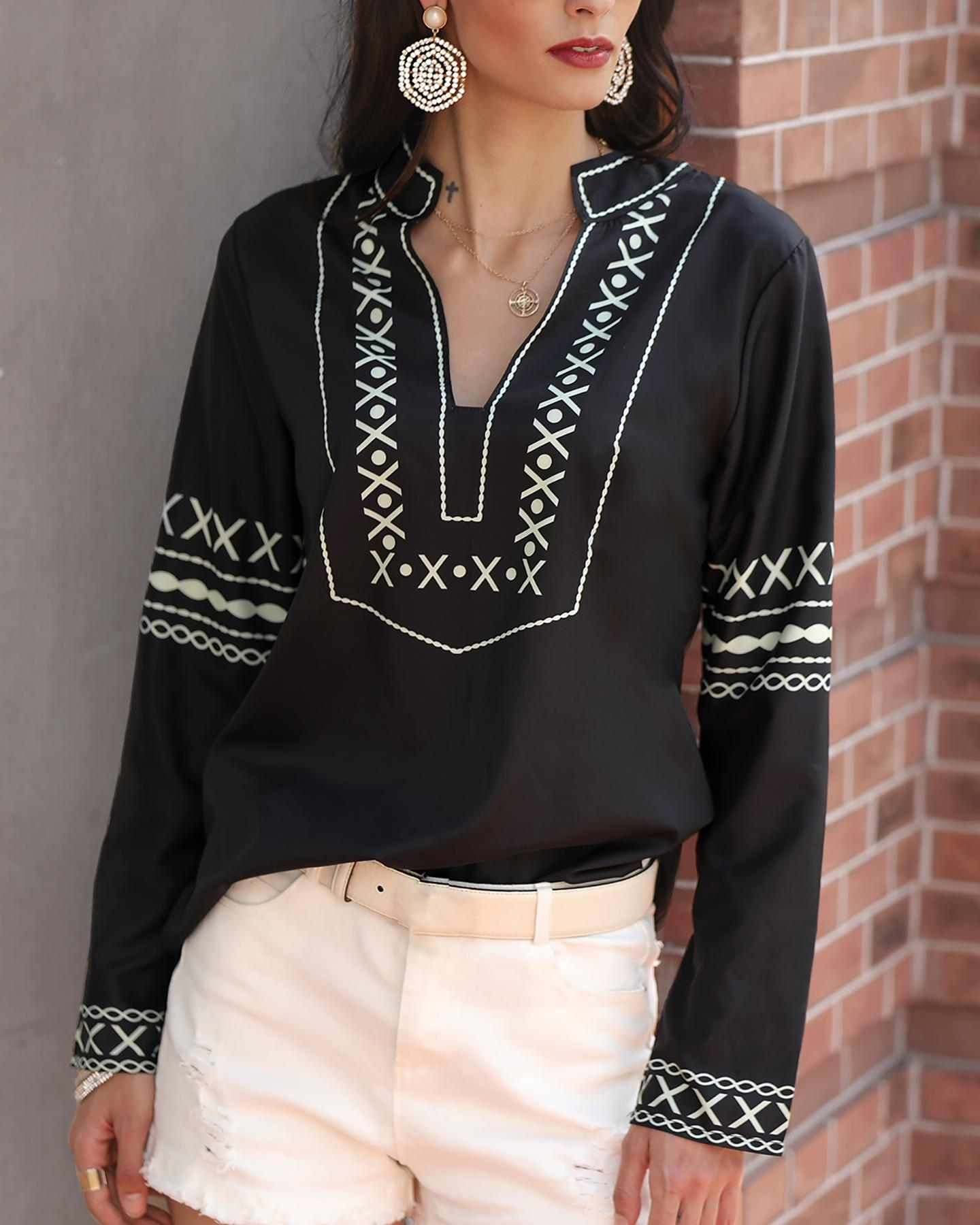 Ethnic Style Long Sleeve V-neck Top фото