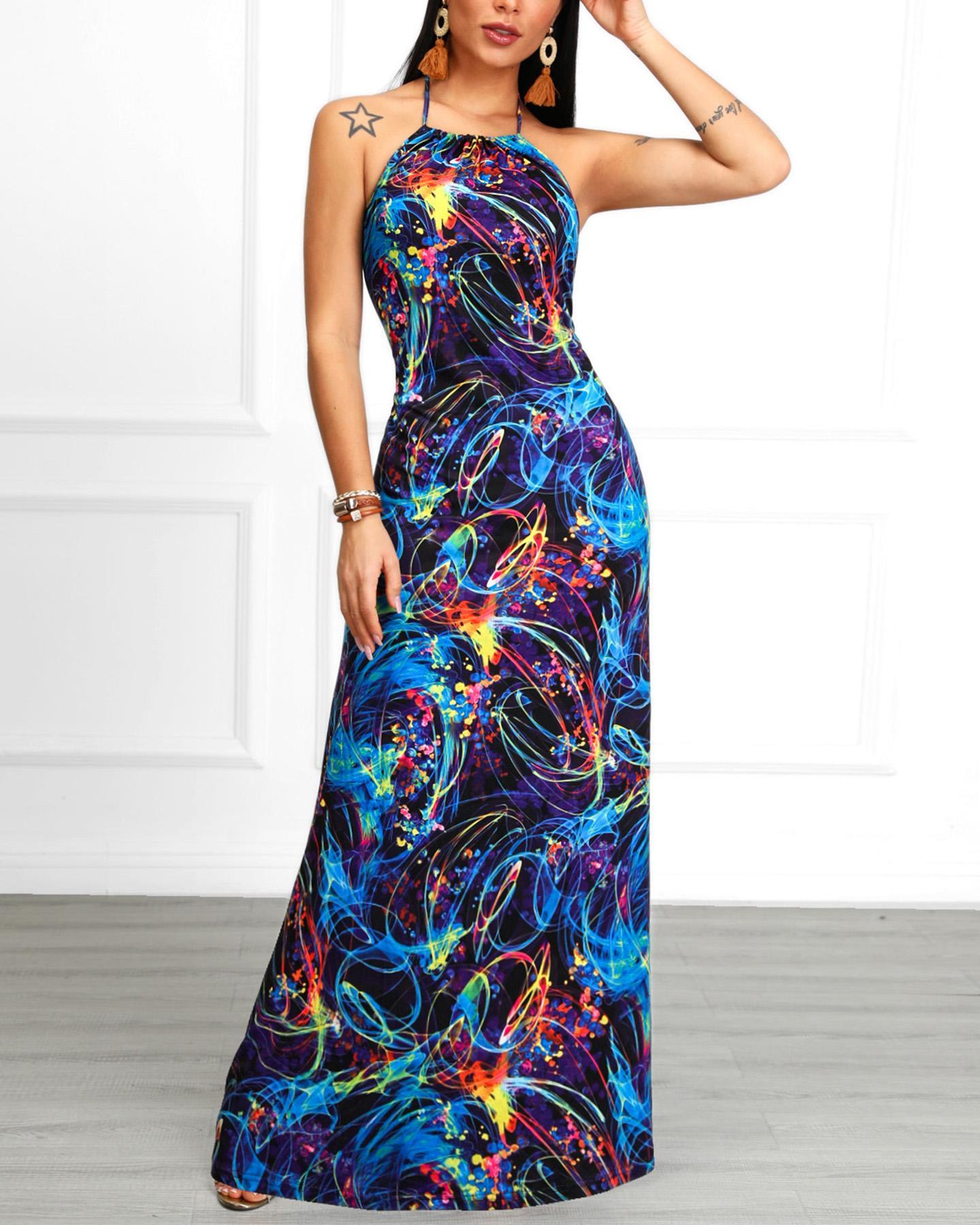 boutiquefeel / Vestido estampado Halter Maxi