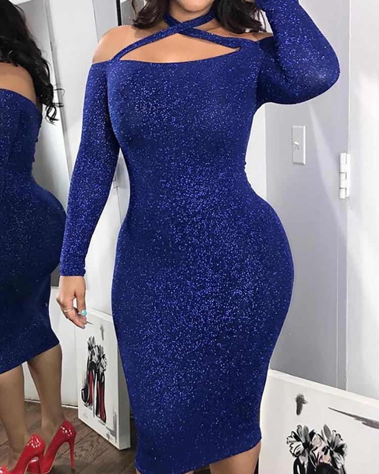 chicme / Glittering Crisscross Halter Neck Bodycon Dress