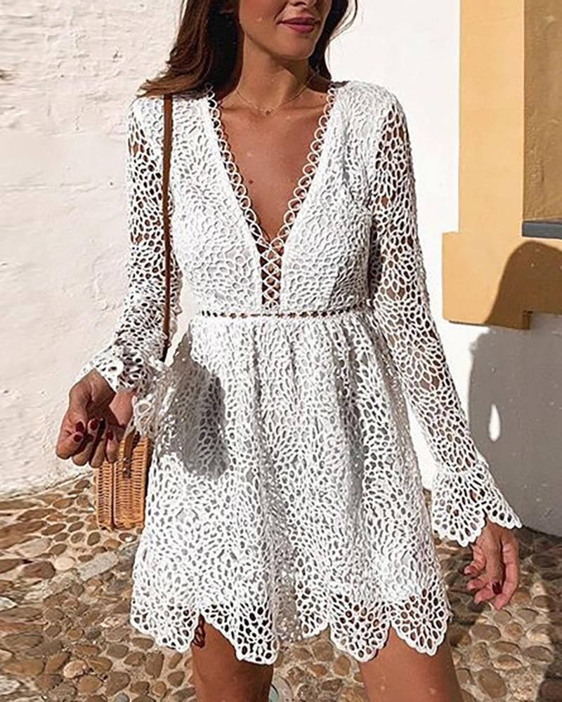 chicme / Plunge Hollow Out Bell Sleeve Lace Dress