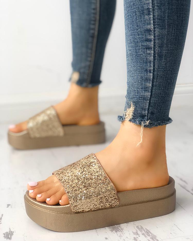 joyshoetique / Sequins Non-slip Platform Sandals